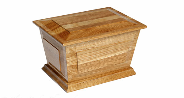 Oak Splayed Ashes Casket