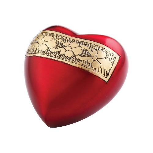 Red Velvet Heart Keepsake Metal